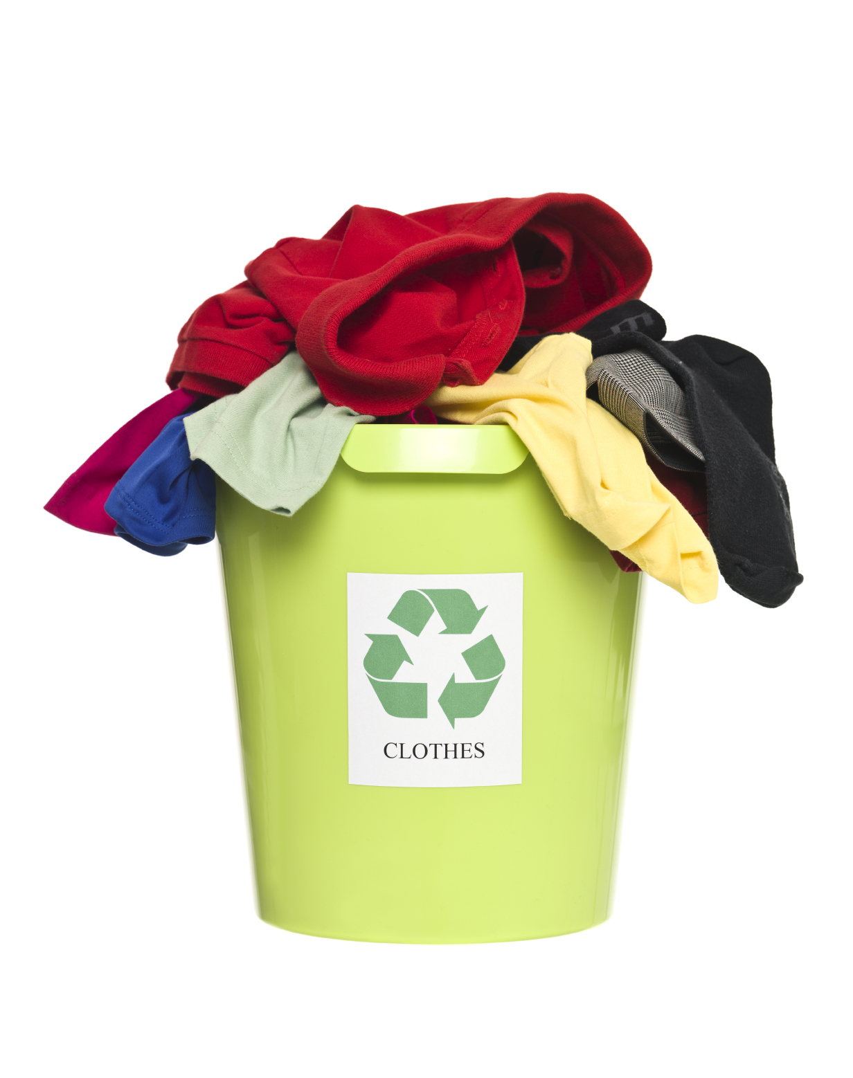 Recycling bin with clothes